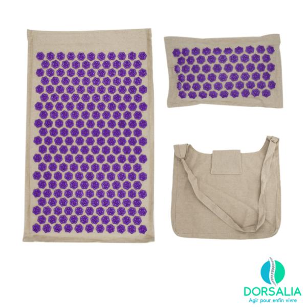 tapis acupression champs de fleurs violet